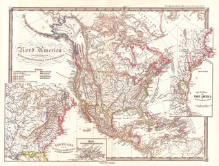 1855, Spruner Map of North America, Overview of Discovery, Conquest and Colonization