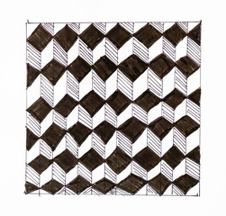black and white chequered ornament from cubes
