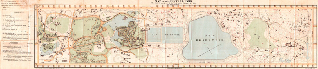 Fototapete - 1860, Pocket Map of Central Park, New York City