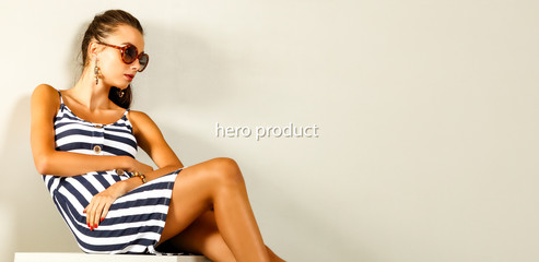 Spring time and slim young woman in studio