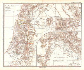 Wall Mural - 1865, Spruner Map of Israel, Canaan, or Palestine in Ancient Times