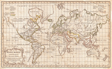 1784, Vaugondy Map of the World on Mercator Projection