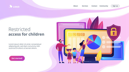 Parents with children using content control software. Parental control software, restricted access for children, media content limitations concept. Website vibrant violet landing web page template.