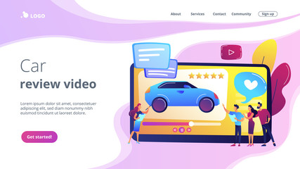 Customers like video with experts and modern car review with rating stars. Car review video, test-drive channel, auto video advertising concept. Website vibrant violet landing web page template.