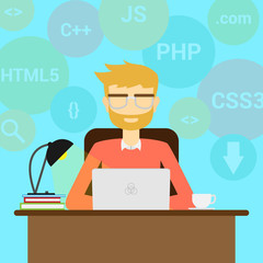 Person programmer working on pc laptop with program code on screen. Coding and programming vector concept. Illustration of developer programming software, coding type - Vector