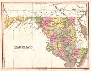 1827, Finley Map of Maryland, Anthony Finley mapmaker of the United States in the 19th century