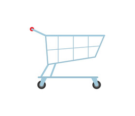 Cart on Rolls Store Isolated Icon Vector trolley