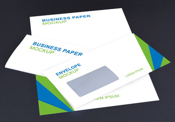 Letterhead and Envelope on Dark Background Mockup