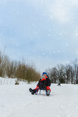 children on two sledges descend from the hills
