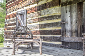 Front Porch. Weathered log cabin and front porch in the hills of Kentucky.