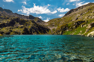 Dolomites mountain lake, trail Cinque Laghi