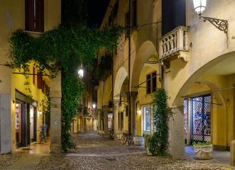 Night view of  narrow street in Padua (Padova), Veneto, Italy