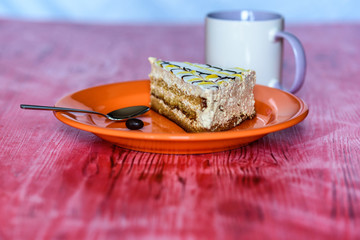 Sponge cake on a wooden background photographed on a ceramic plate of orange color.