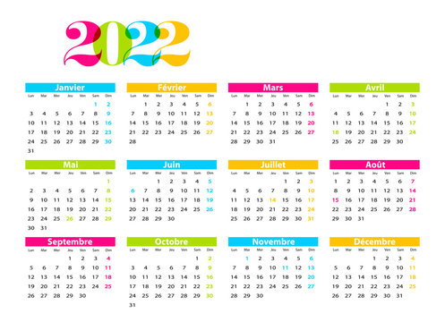Calendrier 2022 à Modifier Vecteur Stock Calendrier 2022   Adobe Stock