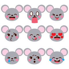 Cute mouse character avatar emoji face expressions with different emotions