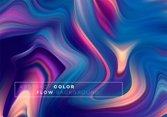 Modern colorful flow poster. Wave Liquid shape in black color background. Art design for your design project. Vector illustration Wall mural