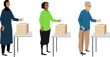 Diverse female voters putting ballot in a box, EPS 8 vector characters