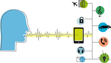 Voice assistant software in a smartphone, EPS 8 vector illustration