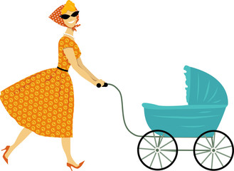 Vintage mother with a stroller, EPS 8 vector illustration