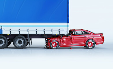 Obraz A car and a truck crashed in accident. Side view. - fototapety do salonu