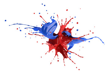 Red and blue paint explosion splashing against each other.