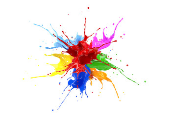 Poster Vormen Multicolored paint splash explosion. On white background.