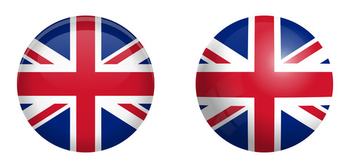 British Union Jack flag under 3d dome button and on glossy sphere / ball.