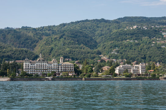 Embankment of Maggiore lake, cityscape of Stresa, Piedmont Italy, Europe.
