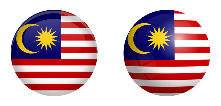 Malay flag under 3d dome button and on glossy sphere / ball.