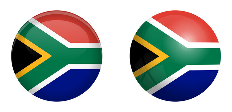 South Africa flag under 3d dome button and on glossy sphere / ball.