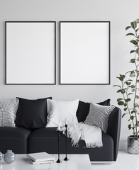 Mockup poster in living room interior, Scandinavian style, 3d render
