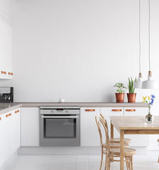 Scandinavian kitchen interior, wall mock up, 3d render