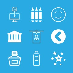 9 art icons with pencils and smiling emoticon stroke in this set