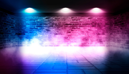Background of empty dark room with brick walls illuminated with neon blue and pink lights with laser beams, smoke