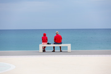 Two elderly people in red clothes are watching to blue sea. Back view