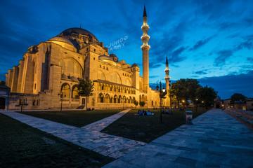 Süleymaniye mosque during the blue hour.
