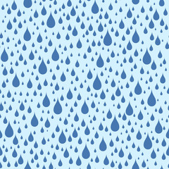 Abstract seamless pattern of raindrops in blue tones.
