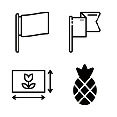 pattern icons set with horizontal framing, flag and pineapple vector set