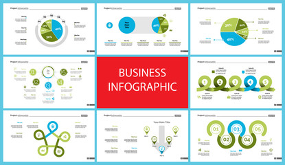 Set of finance or investment concept infographic charts. Business diagrams for presentation slide templates. For corporate report, advertising, banner and brochure design.