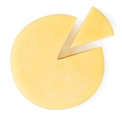 Round cheese and a slice on a white. The form of the top.