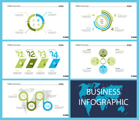 Set of planning or startup concept infographic charts. Business diagrams for presentation slide templates. For corporate report, advertising, banner and brochure design