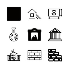 brick icons set with house and shade, stop square filled button and antique building vector set