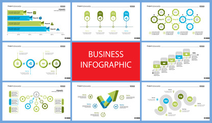 Set of startup or strategy concept infographic charts. Business diagrams for presentation slide templates. For corporate report, advertising, banner and brochure design.