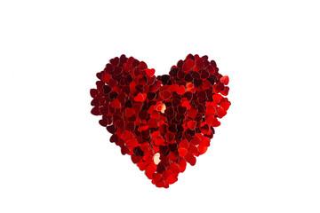 Heart symbol made of small shiny red hearts, isolate