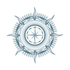 navigation marine compass in the form of stars with rays. round pattern depicting the sun. intertwining frame. monochrome. isolated on white background.