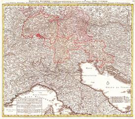 1720, Homann Map of Northern Italy Danubii Fluminis