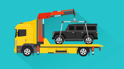 Yellow Tow Truck for transportation design flat style.Vector illustration