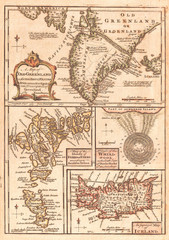 1747, Bowen Map of the North Atlantic Islands, Greenland, Iceland, Faroe Islands, Maelstrom