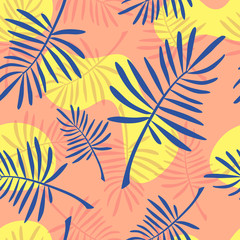 Bright coral and blue fern seamless pattern. tropical vector illustration