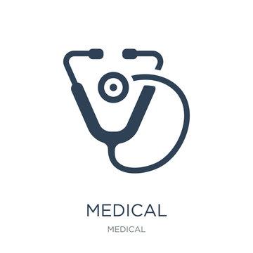 medical stethoscope icon vector on white background, medical ste